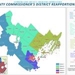 Map of Cumberland County Districts and a chart breaking down the population by town for each district.